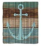 Chaoran 1 Fleece Blanket on Amazon Super Silky Soft All Season Super Plush Anchor Rustic Wood Fabric