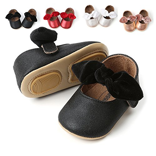 Baby Girls Black Shoe - Antheron Baby Girls Non-Slip Mary Jane Flats with Bowknot Toddler First Walker Sandals Princess Dress Shoes (Black,0-6 Month)
