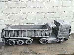 piedra Figura Camión Camión con colgante Maceta Macetero L75cm 38,5kg a las heladas.