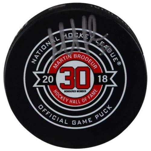 - MARTIN BRODEUR New Jersey Devils Autographed Hall of Fame Night Official Game Puck FANATICS