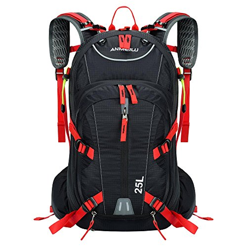 (25L Black + Red color Waterproof Luggage Travel Bag Sports Backpack Mountain Bag Hiking Climbing Cycling Bicycle Backpack Hydration + Rain Cover)