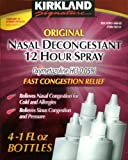 Kirkland Signature Original Nasal Decongestant 12 Hour Spray (4 x 1 Oz Bottles)