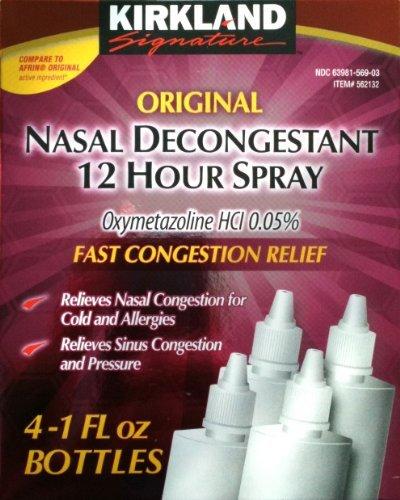Kirkland Signature Original Nasal Decongestant 12 Hour Spray (4 x 1 Oz Bottles)