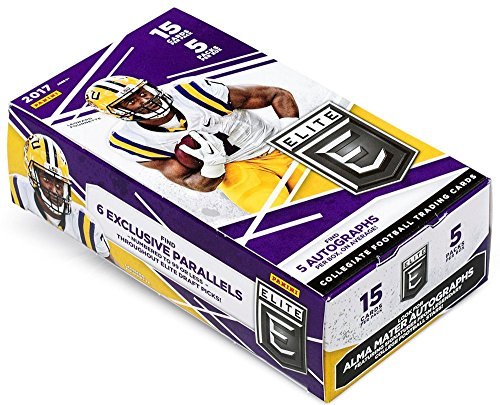 2017 Panini Elite Draft Football Hobby Box (5 Packs of 15 Cards: 5 Inserts, 5 Autographs, 30 Draft Picks)