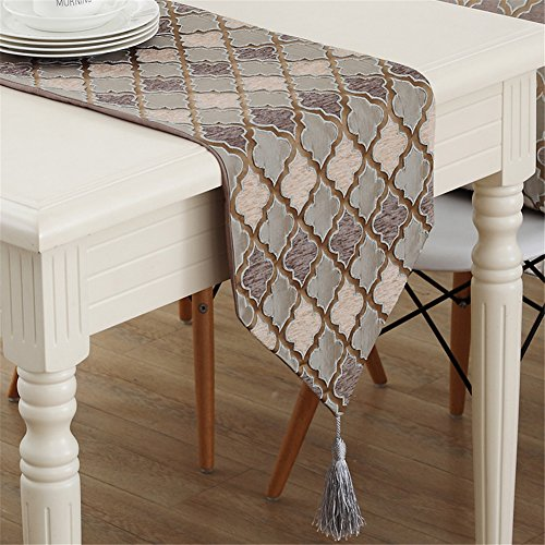 - Luxiu Home Simple Style Geometric Pattern Decorated Brown Table Runner 12 x 86 inch Approx