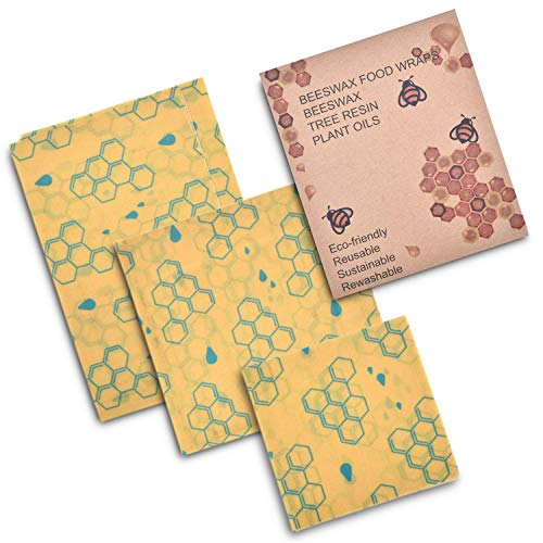 Beeswax Wraps Food Storage Sheets-Biodegradable/Eco-Friendly 100% Cotton Covered with Natures Goodness-Non-Plastic Reusable Washable Kitchenware-3 Pack Set Small/Medium/Large Dish Sizes-YHoney