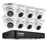 ZOSI 720p HD-TVI Video Security System,1080N 8 Channel Security DVR and (8) 1.0MP 1280TVL Outdoor/Indoor Dome Surveillance Cameras, Super Day/Night Vision, Remote Access(No Hard Drive)