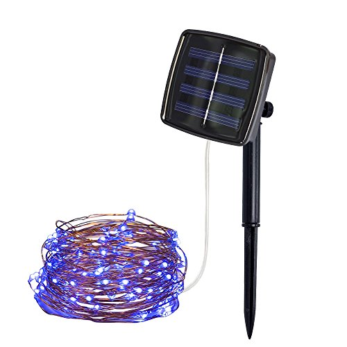 Solar String Lights Outdoor, 16.5 Feet 50 LED Solar Powered Copper Wire Starry Fairy Lights Waterproof Decorative Lighting for Patio Garden Yard Home Xmas Wedding Party Holiday Decoration (Blue) from FunDiscount Shop_Lights
