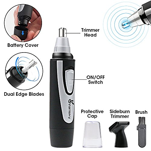 Ear Nose Hair Trimmer, Vansky 2018 Upgraded Nostril Ear Sideburns Facial Hair Clipper Removal for Men Women w/Waterproof Double-Edge Stainless Steel Blades,Wet/Dry Use,Battery-Operated Trimming Tool by Vansky (Image #2)