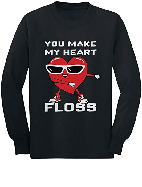 81cda4bd You Make My Heart Floss Valentine's Day Funny Toddler/Kids Long Sleeve T- Shirt
