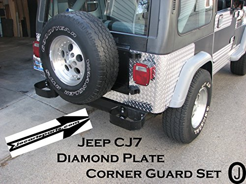 Jeep CJ7 3 pc Aluminum Diamond Plate Rear Quarter Panel Corner Guards (Cj7 Corner)