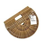 Yoome Top Handle Bamboo Bags Handmade Straw handbags Beach Tote Bag For Women Vintage Bamboo Handbags - Wood Color