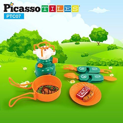 PicassoTiles PTC20 - Juego de 20 herramientas de acampada para aventura, incluye Walkie Talkie, tienda de campaña,...