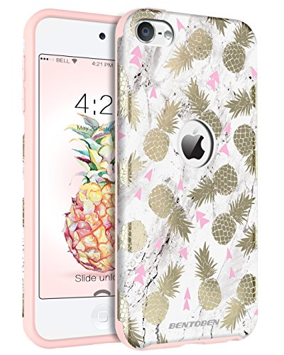 iPod 5 Case, iPod 6 Case BENTOBEN Pineapple Design Case for iPod Touch 5 6th Generation White/Gold