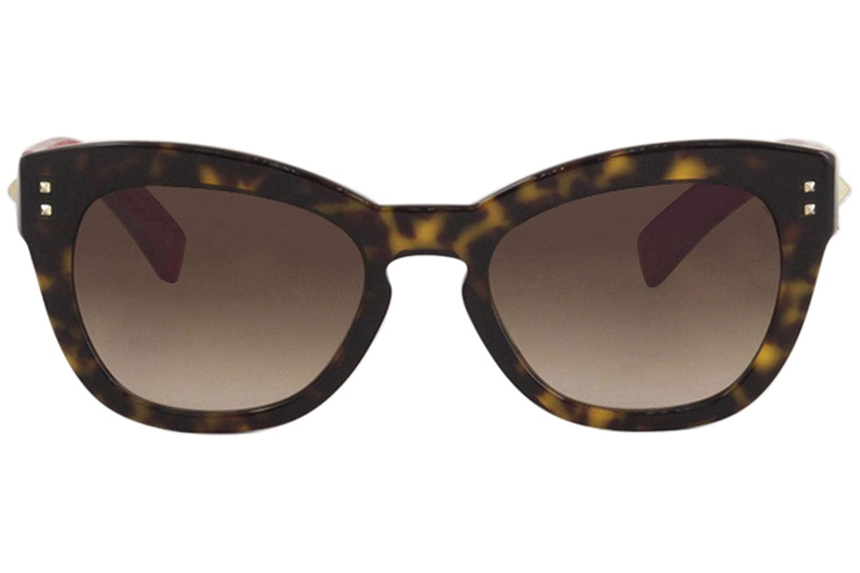 f5bbde38fa Valentino VA4037 VA 4037 500213 Havana Red Leather Butterfly Sunglasses  53mm at Amazon Men s Clothing store