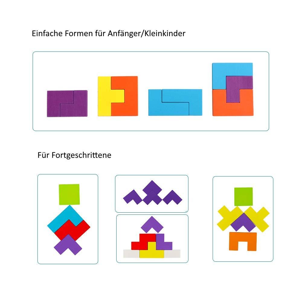 1er Pack B/&Julian /® Tetris Holz Tangram Kinder Spiel bunt Holzpuzzle geometrisch Formen mit Box Knobelspiele