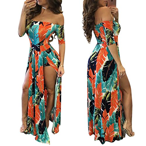 Maxi Romper Skirt Dresses Plus Size Bodycon Sexy Summer Dress 2018 Orange XL ()