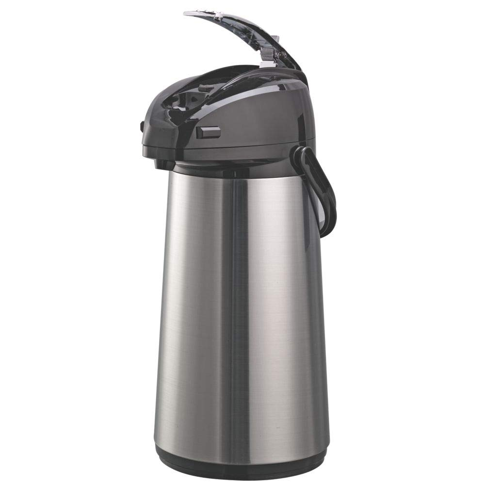 Service Ideas AELS228 Airpot with Lever, Glass Lined, 2.2 L, Brushed with Black Accents