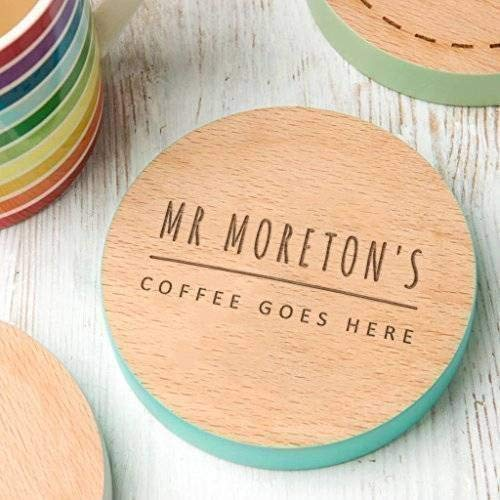 Personalized Teacher Gift for Women or Men - Teacher Coffee Coaster for Mug - Engraved Wooden Coaster with Hand Painted Edge (9 Colors to Choose From)