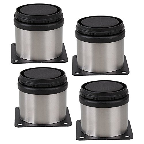VOVOV Furniture Cabinet Metal Legs Adjustable Stainless Steel Kitchen Feet Round Black and Silver 50 x 50mm Pack of 4 + 16x Screw