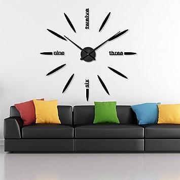 tomobile DIY 3D Reloj de Pared Moderno Grande Decoración del Hogar Etiqueta Sin Marco Negro Espejo para la Oficina Sala de Estar Dormitorio Cocina Bar ...