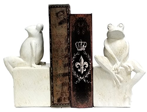 (Bellaa 23040 Thinker Frog Bookend Antique White Finish 8