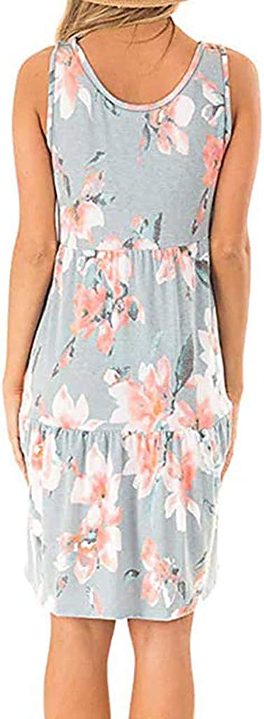 Dresses for Women Floral Print A-line Midi Dress Sleeveless Casual Party Summer Tank Sundress