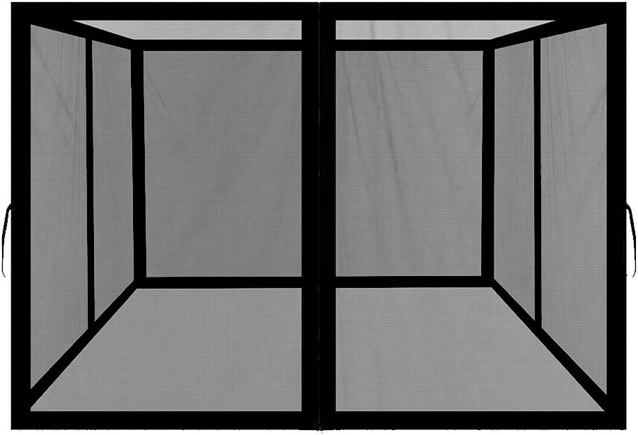 Easylee Universal 10'x 12' Gazebo Replacement Mosquito Netting, 4-Panel Netting Walls for Patio with Zippers (Black)
