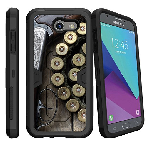 MINITURTLE Case Compatible w/ Case for [Samsung Galaxy J3 Emerge | J3 Prime | J3 Eclipse | Galaxy Luna Pro] [MAX DEFENSE] Hybrid Clip Armor Rugged Case w/ Stand Shotgun w/ Ammo Armor Shotgun Case