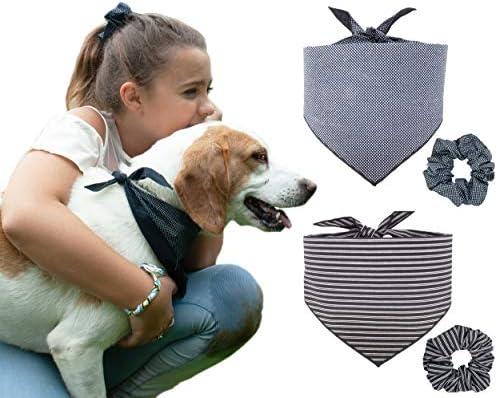 Matching dog bandanas and scrunchies!
