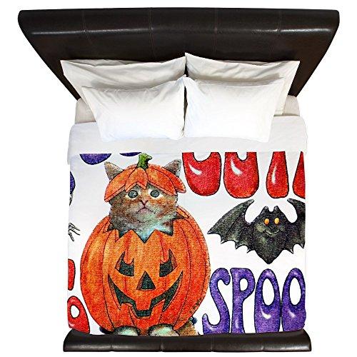King Duvet Cover Halloween Pumpkin Kitten -