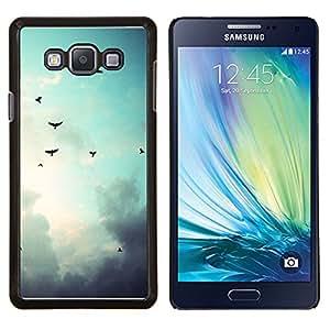 Aves cielo sombrío- Metal de aluminio y de plástico duro Caja del teléfono - Negro - Samsung Galaxy A7 / SM-A700