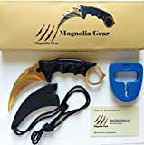 Tactical Knife -Magnolia Gear CS GO KARAMBIT KNIFE Hawkbill Neck Knife Easy To Carry With Rope and Sharpener - Outdoor Survival, Camping or Fishing Companion (Gold)