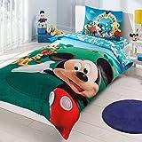 Disney Mickey Club Cama individual Cama Infantil Niña cama edredón (160 x 220 cm), 100% algodón, con funda nórdica, sábana Acke (100 x 200 cm) y funda de almohada (50 x 70 cm) para niños Fabricado en Turquía