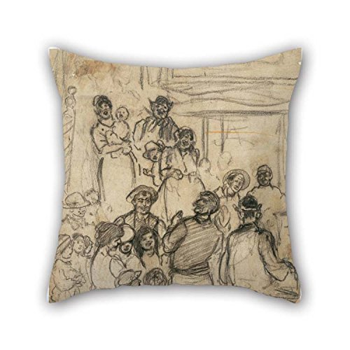 16 X 16 Inches / 40 By 40 Cm Oil Painting Jerome Myers - Street Singer Throw Pillow Covers Two Sides Is Fit For Bf Deck Chair Indoor Kids Girls - Myer Queen Street