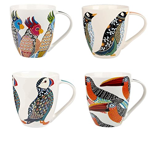 Churchill China Queens Paradise Birds Colourful Puffin Parakeets Penguin Toucans Mug Cup Set of 4 500ml 16.9 fl oz (Churchill Made In Staffordshire England Blue Willow)