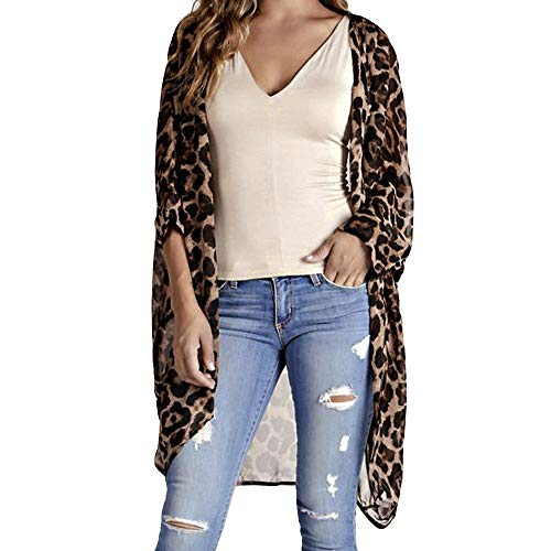 - TWGONE Kimono Cardigans For Women 3/4 Sleeve Chiffon Coat Smock Leopard Print Half Sleeve Long Cover(Medium,Brown)