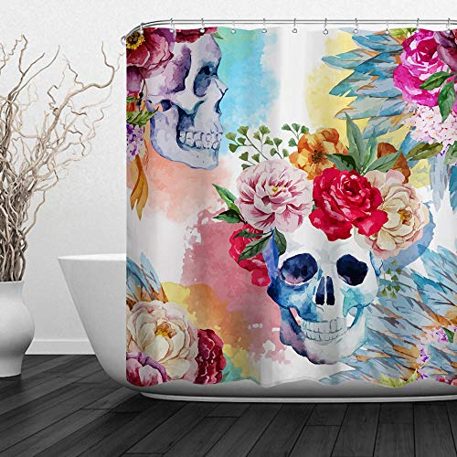 Day Of The Dead Shower Curtain - Baccessor Skulls Shower Curtain Sugar Roes