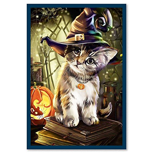 856store Clearance Sale Lovely Halloween Cat 5D Diamond Painting Cross Stitch DIY Hand Craft Wall Decor]()