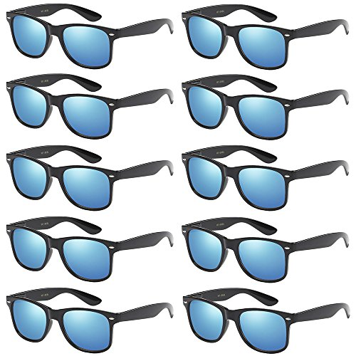 WHOLESALE UNISEX 80'S RETRO STYLE BULK LOT PROMOTIONAL SUNGLASSES - 10 PACK (Gloss Black / Ice Blue Mirror, 52 mm)