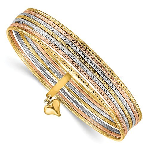 14k Tri Color Yellow White Gold Slip On 7 Bangles Bracelet Cuff Expandable Stackable Bangle Set Fine Jewelry Gifts For Women For Her
