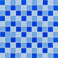 Vidrio Mosaico Azulejos Color Azul Claro Mix Pared