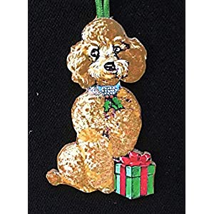 Tan Honey Brown Poodle Ornament Handcrafted Wooden Christmas Decoration, Dog Lover's Gift, Jeweled Dog Collar Toy Standard Veterinarian Gift 1