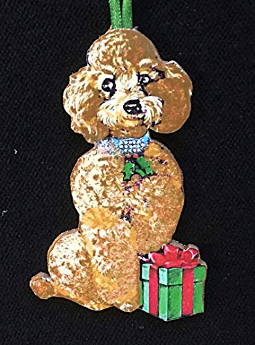 Tan Honey Brown Poodle Ornament Handcrafted Wooden Christmas Decoration, Dog Lover's Gift, Jeweled Dog Collar Toy Standard Veterinarian Gift