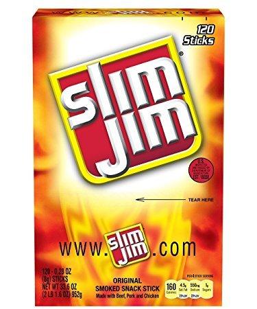 Slim Jim Smoked Snack Sticks, Original, .28-Ounce, 120 Count
