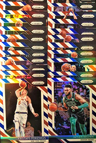 """(25) Twenty-Five Count Lot of 2018/19 Panini PRIZM""""Red, White, Blue"""" Refractor Basketball Cards - All Different!"""