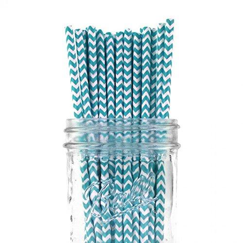 Dress My Cupcake 25-Pack Vintage Paper Straws, Aqua Chevron (Bulk Candy Jars)