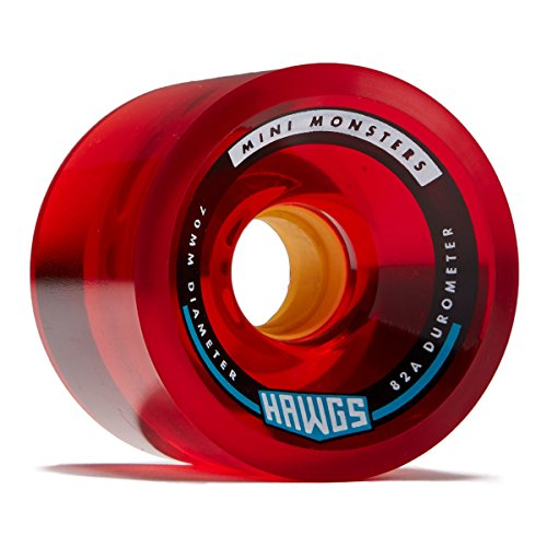Hawgs Mini Monsters Longboard Wheels - 70mm - 82a - Red (Hawg Wheels)