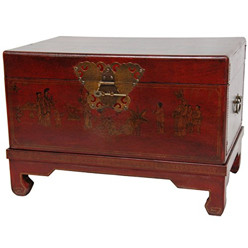 Oriental Furniture Red Lacquer Small Trunk (Chinese Trunk Lock)