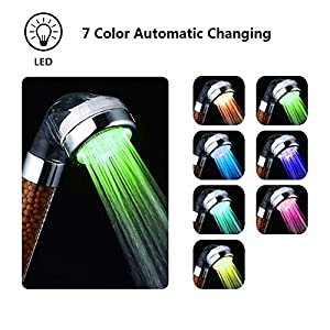 Shower Head LED Handheld 7 Color Changing Bathroom Spa Shower Head with Negative Ionic Double Filter Removes Heavy Metals, Chlorine, Bacteria Saving Water, Pressurize(Large Sized:3.2 x 9.3 x 3.2 Inch)